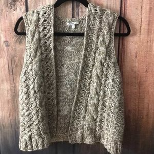GAP Chunky Cable Knit Open Front Sweater Vest S